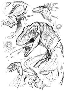 Dinosaur designs for Chronos Commandos. At © Stuart Jennett