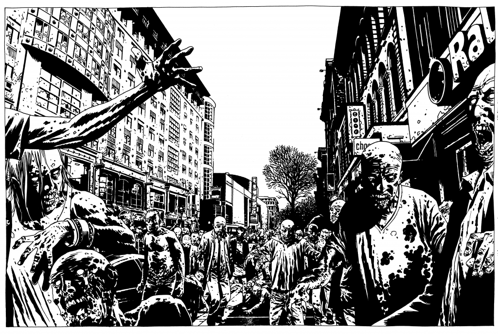 A stunning duble page spread by Charlie Adlard from The Walking Dead Issue 78