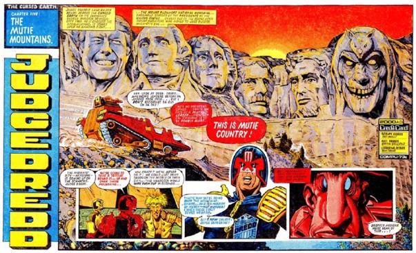 A Brian Bolland spread from 2000AD's Judge Dredd: The Cursed Earth