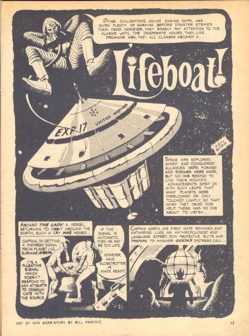 """The opening page from a Creepy story, """"Life Boat"""" drawn by Ken Barr."""