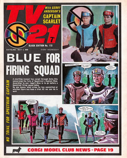 Captain Scarlet featured on the front cover of TV21, the story continuing inside.