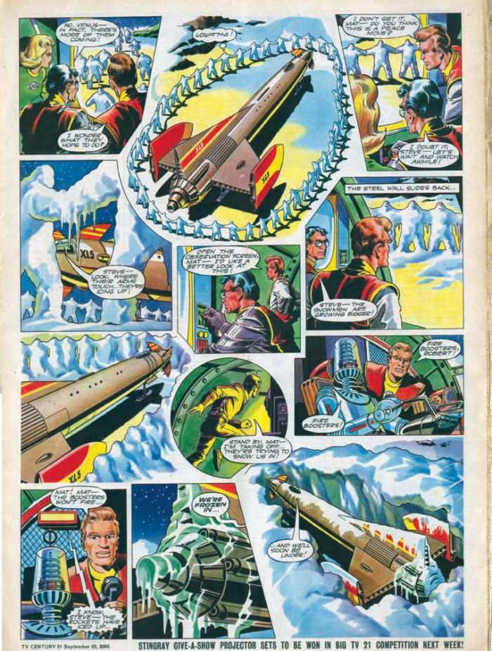 """An episode of """"Fireball XL5"""" for TV 21, drawn by Mike Noble - one of the creepiest stories in the comic ever, as alien snowmen take over humans, turning them into ice-like zombies at the beck and call of their leader."""