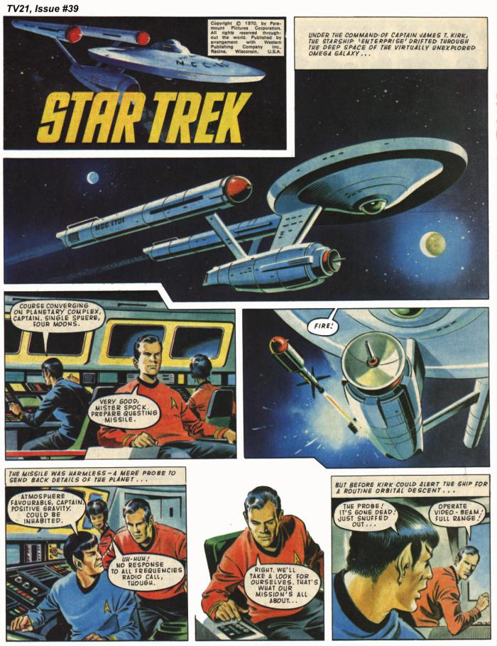 """A page from """"Star Trek"""", drawn by Mike Noble"""