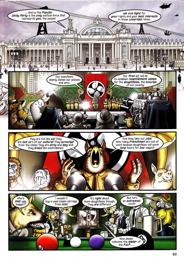 Talbot satirizes the trappings of Nazism.