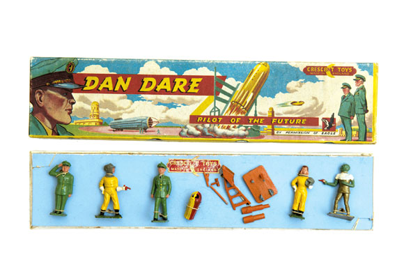 A Dan Dare Figures Set  produced by Crescent Toys in the 1950s sold at auction by ComPal in 2012 for over £600, featuring Dan and Digby,  Professor Peabody and Sondar. Image: ComPal
