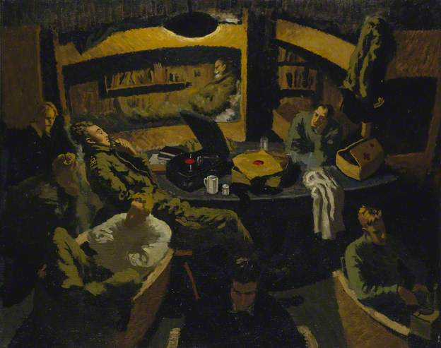 Naval Officers Room at Marlag O, Prisoner of War Camp by John Worsley. Image: National Maritime Museum, Greenwich, London