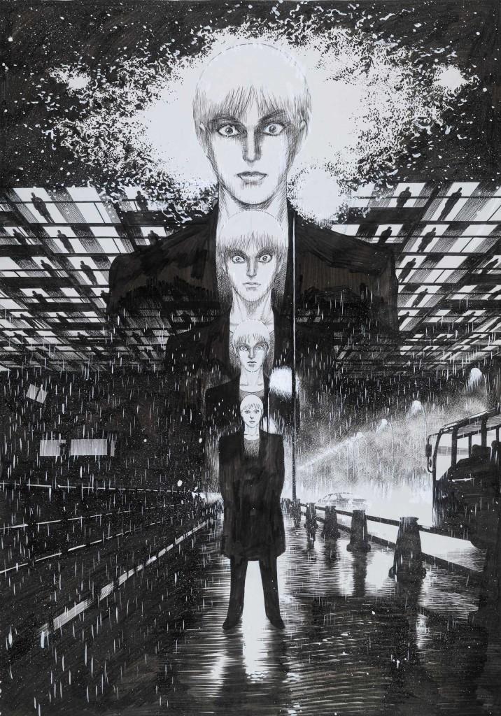 Hoshino Yukinobu (b. 1954), Rainman. Ink on paper, 2015. JTI Japanese Acquisition Fund, 2015,3024.1 © Hoshino Yukinobu.