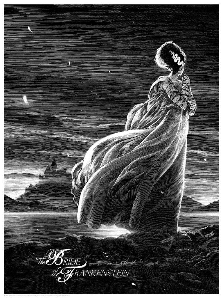 Bride of Frankenstein print by Nicolas Delort. Image courtesy Dark Hall Mansion