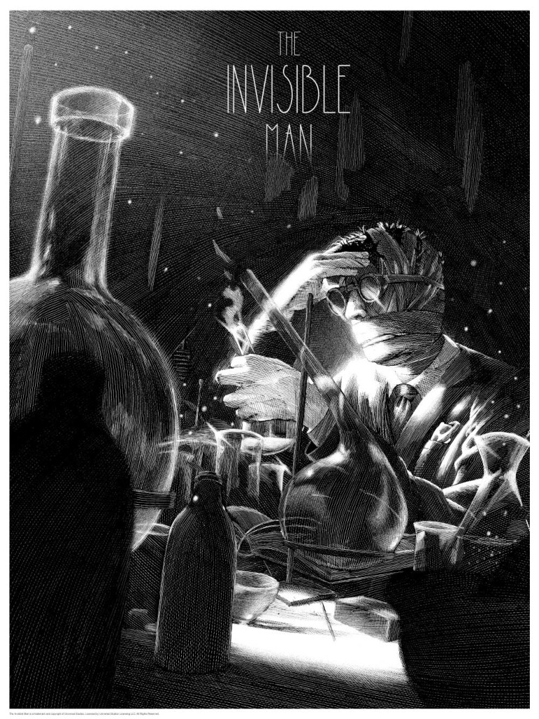 The Invisible Man print by Nicolas Delort. Image courtesy Dark Hall Mansion