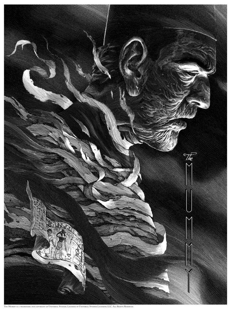 The Mummy  print by Nicolas Delort. Image courtesy Dark Hall Mansion