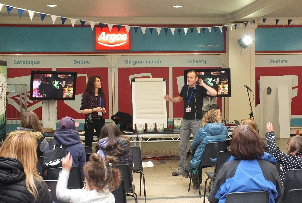 Sandra Marrs and John Chalmers of Metaphrog teach a free comics workshop in the Westmorland Shopping Centre. Photo: Jeremy Briggs