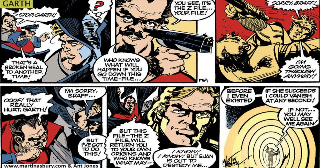 """The final episodes of """"Z-File"""", the last story in the original Garth run in the Mirror, recently reprinted in the paper. The original art by Martin Asbury was coloured by Martin Baines and Ant Jones"""