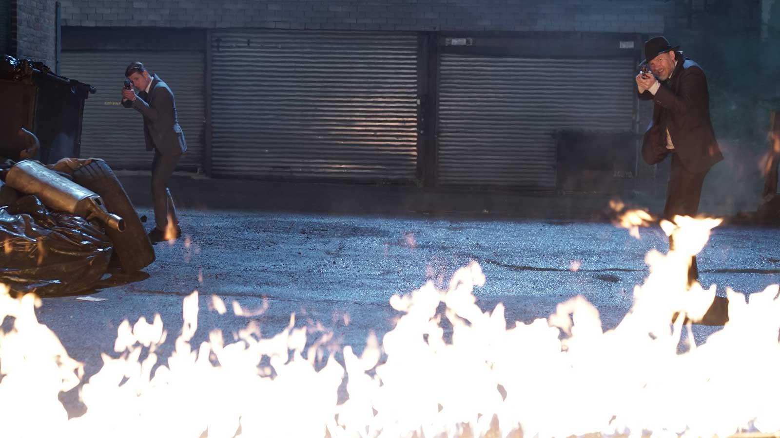 "Ben McKenzie as Detective James Gordon and Donal Logue as Detective Harvey Bullock in Gotham: ""Scarification"""