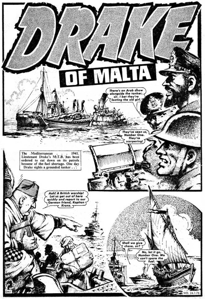 """A page from """"Drake of Malta"""" in the issue of Warlord cover date 24th January 1976."""
