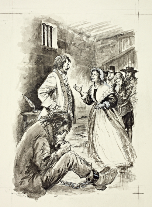 """One of Shirley's drawings for """"The Unremembered Inn"""". Author Max Harris tells me this depicts an actual event from real life – in the prison in Gloucester Castle on 16th June 1677. Mary Ellery is pleading to save the life of her husband William, imprisoned for debt. """"I gave Shirley just a brief description of the events which took place in the prison cell on that day,"""" says Max, """"and was absolutely astounded at how accurately she interpreted the scene in William Ellery's cell (including the rat!). """"She was a most remarkable and gifted artist and it was a great privilege to have met her."""""""