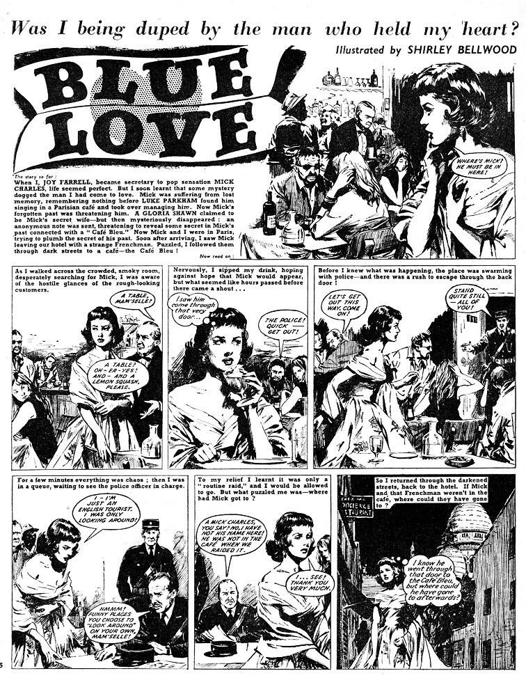 Early comic strip art by Shirley Bellwood from the C Arthur Pearson published in the romance digest, Glamour LIbrary.