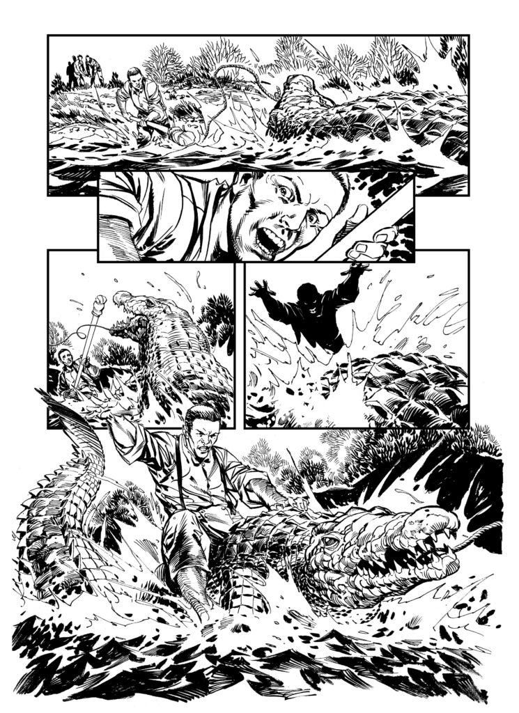 Dramatic art from the Charles Waitron by Staz Johnson, created for Wakefield Museum, a comics project funded by the Arts Council