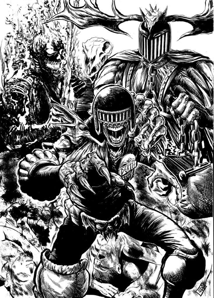 "A ""Dark Judges"" illustration by Steven Austin"