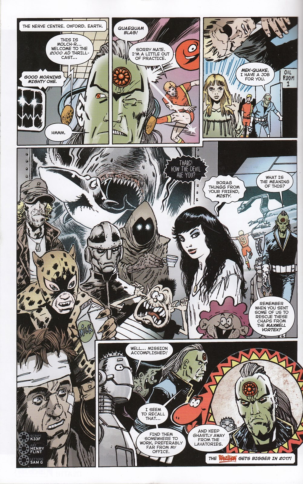 """A page from the 2000AD Free Comic Book Day 2017 giveaway, featuring numerous Fleetway characters now owned by Rebellion. In Panel One, Max, the computer from """"The Thirteenth Floor"""", first published in Scream; Panel 2, Roy of the Rovers, Panel 3, Rosemary Black from the Misty story """"Moonchild"""";  Panel Four, Major Eazy from """"Battle"""", the Leopard of Lime Street (from Buster), Faceache, Charley Bourne (from """"Charley's War"""" and Scream editor Ghastly McNasty and Misty editor, Misty, and more; and finally, in Panel 5, Sid's Snake from Whizzer and Chips"""