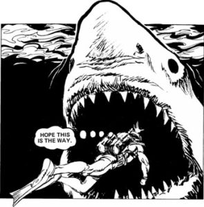 """A classic scene from the original """"Hook Jaw"""" strip in Action. Art by Ramon Sola"""