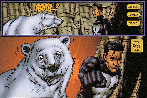 Punisher vs Polar Bear by Steve Dillon