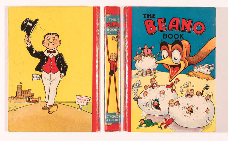 Beano Book 2 (1941). Big Eggo hatches the Beano characters. From the Brenda Butler archive. This 1941 annual looks unread and is the highest graded example ever offered at auction.
