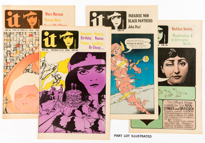 International Times (published in 1968-69). Issues 35, 38-49, 57, 59-66 are on offer (65 and 66 complete with Plug & Socket music issue supplements). Reporting on John Lennon's 'To Yoko' art exhibition, John Lennon letters in IT. Black Panthers, the Stones in Hyde Park, John Peel's Perfumed Garden, Doors interview, Byrds, Jefferson Airplane, Norman Mailer on love and censorship, Mothers of Invention, Acid Rock, Wonder Woman alternative comic strip 'What turns the Mighty Maiden On?' T.Rex. Issue 60 Moon Landing cover by Mike McInnery, Brian Jones obituary, Pretty Things and not so pretty things ....