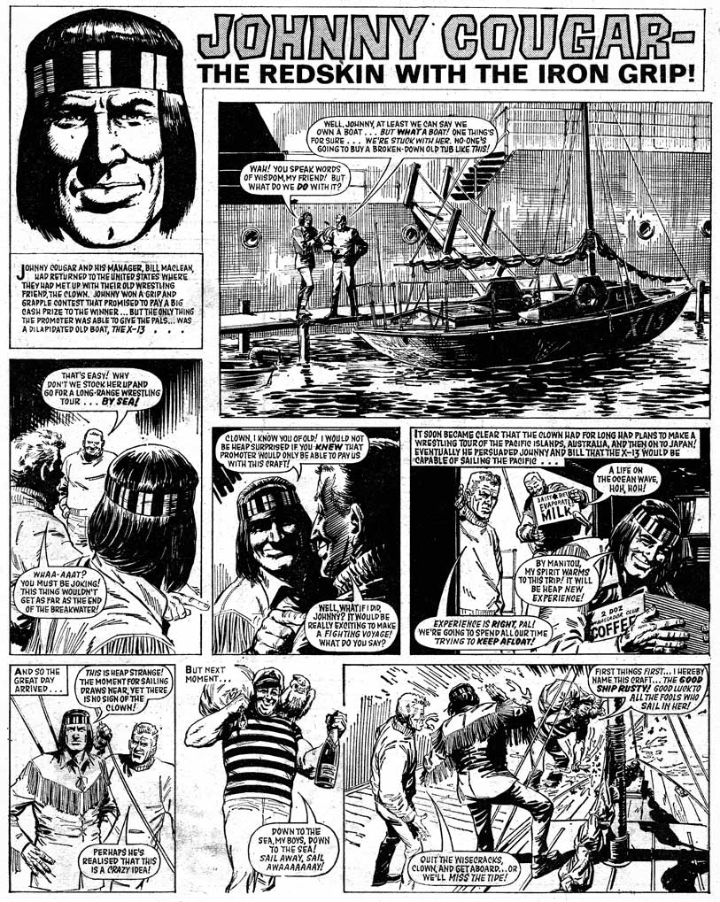 """A page of """"Johnny Cougar"""" from Tiger and Hurricane, cover dated 16th November 1968. Art by John Gillat. Via the British Comic Art blog"""