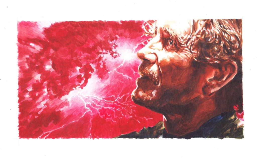 """Paul McGann as the Eighth Doctor and 'The Oncoming Storm"""". Art by Richard Piers Rayner"""