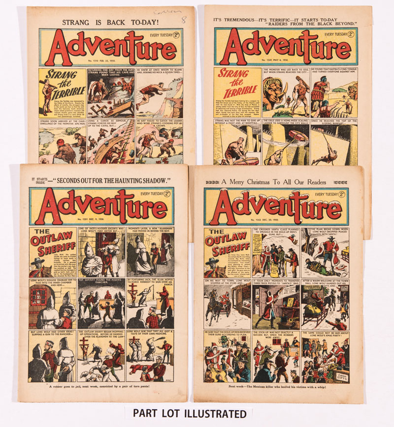 A complete year of Adventure (1950) starring the Outlaw Sheriff and Strang The Terrible cover stories by Dudley Watkins