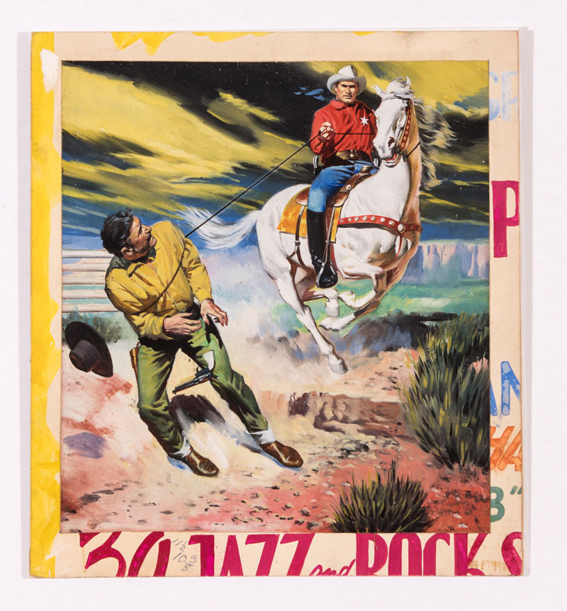 Buck Jones original cover artwork (probably) by Georgio di Gaspari (late 1950s) Our research has been unable to locate a Picture Library cover featuring this artwork Gouache on backed card. 11¾ x 10¾ ins £250-300
