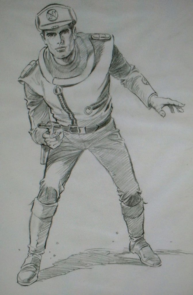 Mike Noble's pencil's for the Captain Scarlet box art