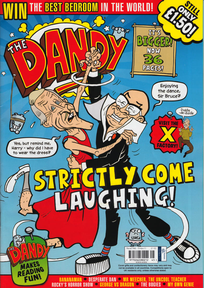 Bruce Forsyth and Harry Hill whoop it up on the cover of The Dandy in November 2011