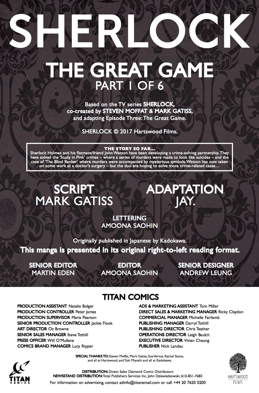 Sherlock: The Great Game #1 - Credits