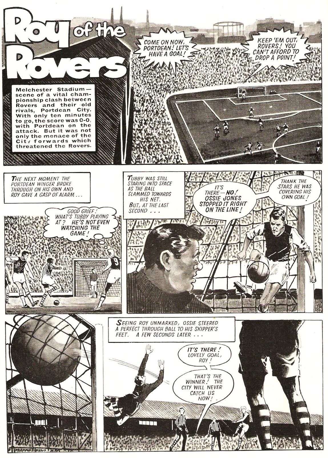"""The opening page of a """"Roy of the Rovers"""" strip drawn by Paul Trevillion for the 1965 Tiger Annual"""