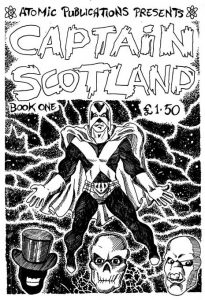 A rare, early version of Captain Scotland inspired by the look of Captain Britain as developed by artist Alan Davis