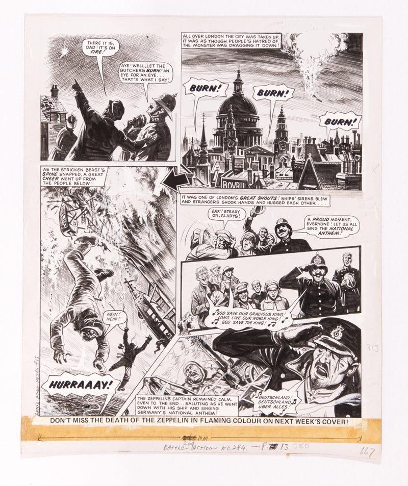 Charley's War original artwork (1984) by Joe Colquhoun from Battle-Action No 284