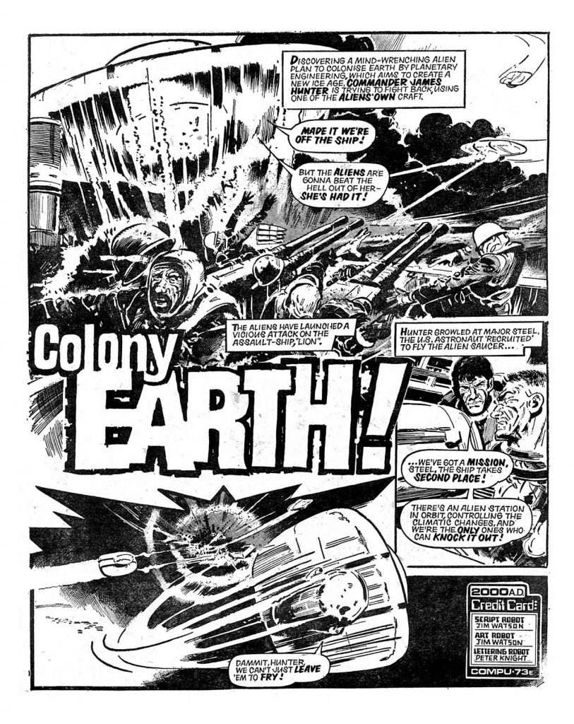 """""""Colony Earth: for 2000AD Prog 59, written and drawn by Jim Watson"""
