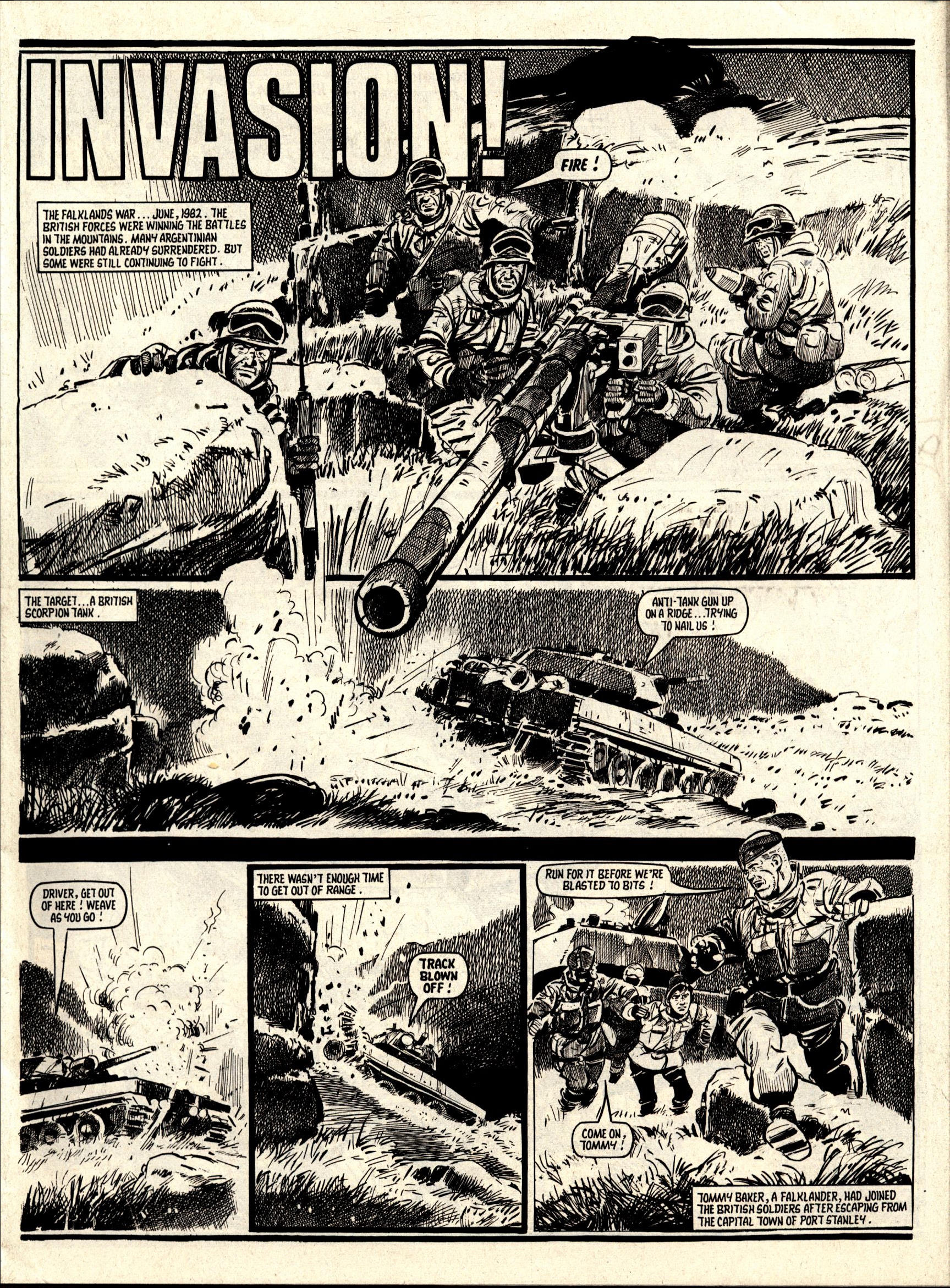 """A page from the Falklands War-inspired story """"Invasion"""". published in Battle with Storm Force in August 1987. Story by Story by Terry Magee, art by Jim Watson"""