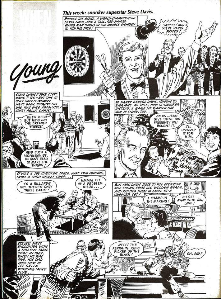 "Look-In - ""Young Steve Davis"" - 1983 (art by Jim Baikie)"
