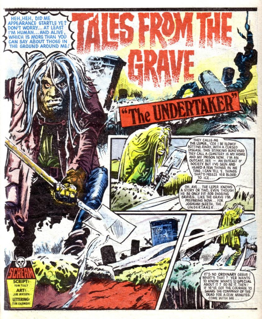 """The opening page of """"Tales from the Grave - The Undertaker"""" from Scream Issue One, written by Tom Tully, art by Jim Watson"""