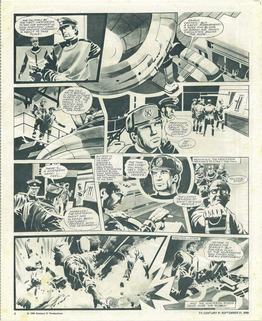 """When TV21 merged with TV Tornado in September 1968, Frank Bellamy provided the opening cover page for """"Captain Scarlet"""", but Jim Watson drew the interior pages, taking over from the unrelated Keith Watson. Jim would later draw the covers on some issues, too"""