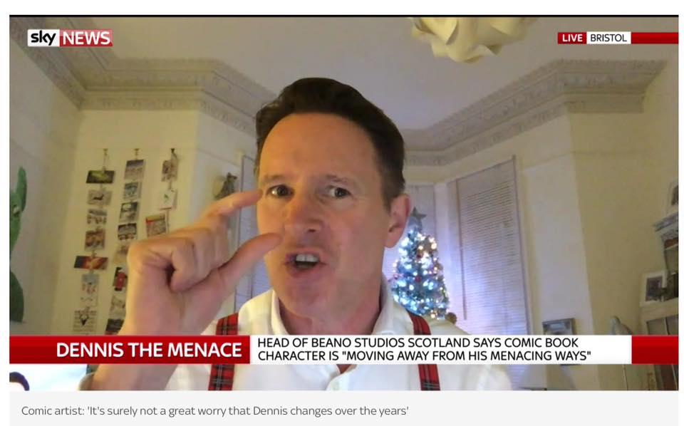 Comics Masterclass tutor and cartoonist Kev Sutherland on Sky News, gently hitting back at Beano critics