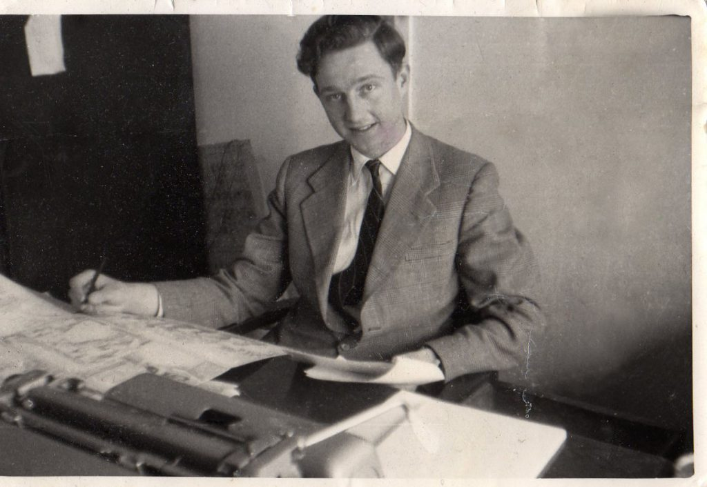 David Motton in the offices of Amalgamated Press in the 1960s