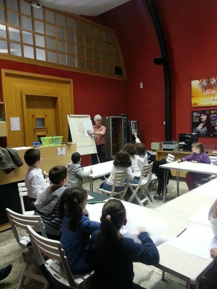 Tim Perkins delivers a comic art workshop for Maltese schoolchildren. Photo courtesy Malta Comic Con