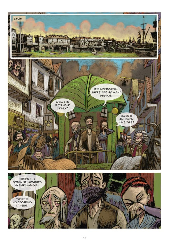 Gwynplaine and company arrive in London. Art from The Man Who Laughs by Mark Stafford