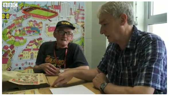 The Beano's oldest fan Jim Andison with former editor and Beano historian Morris Heggie