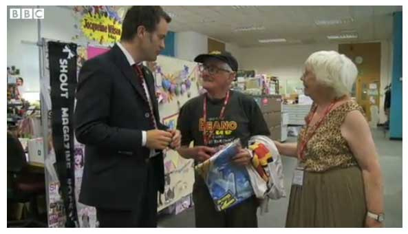 The Beano's oldest fan Jim Andison with his wife in The Beano's Dundee office