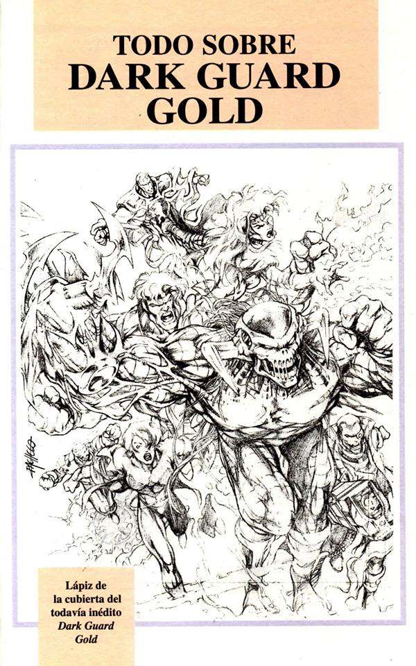 "Carlos Pacheo's pencils for the cover of Dark Guard Issue 5, which open a section in the Spanish language collection of Dark Guard entitled ""Dark Guard Gold"""