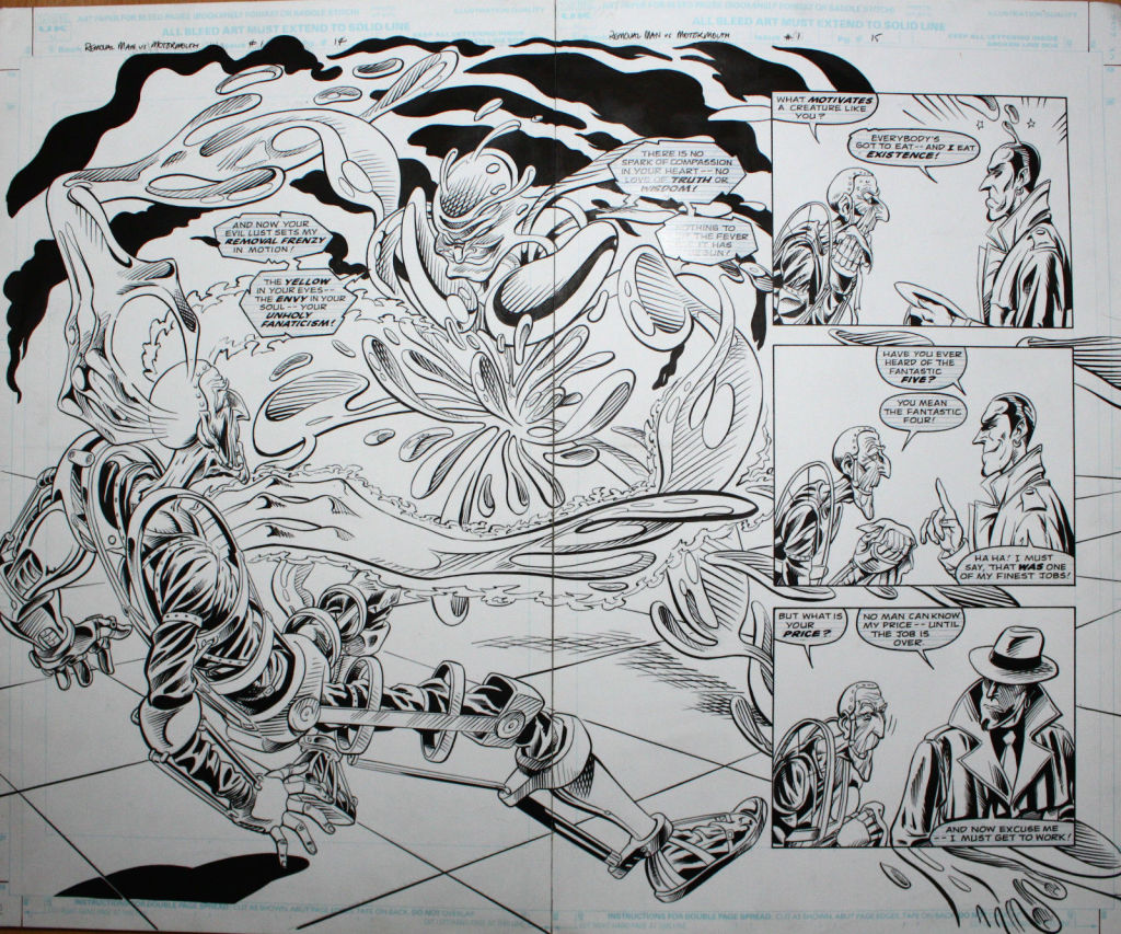 A double page spread from the unpublished Motormouth versus Removal Man, written by Glenn Daken and drawn by Tim Perkins